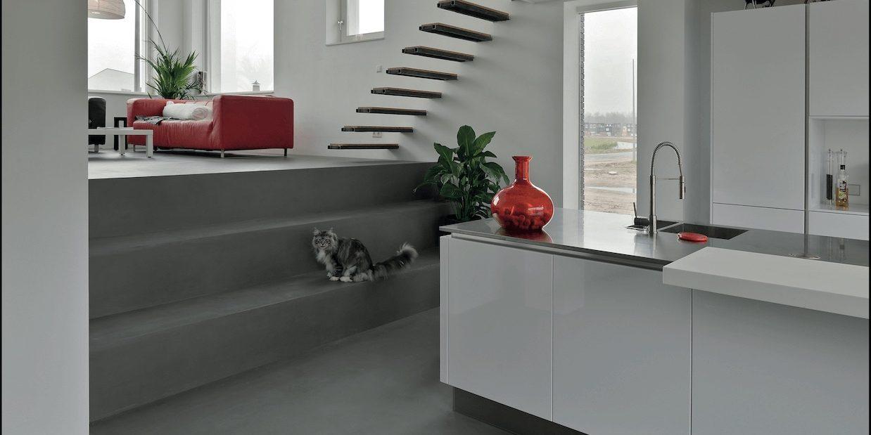 betonboden optik treppe naturo l beck bodenbel ge l beck. Black Bedroom Furniture Sets. Home Design Ideas